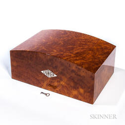 "Cartier Humidor in Burl Vavona Figured Wood and ""Platinum"" Finish"