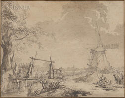 Dutch School, 18th Century      Landscape with Windmill and Small Canal