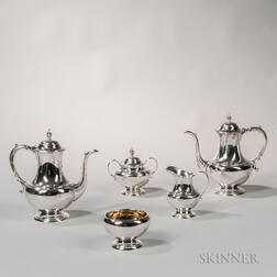 "Five-piece Reed & Barton ""Pilgrim"" Pattern Sterling Silver Coffee Service"