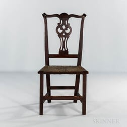 Carved Cherry Rush-seat Side Chair