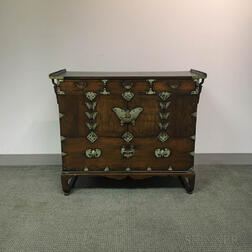 Korean Carved and Brass-mounted Hardwood Chest of Drawers