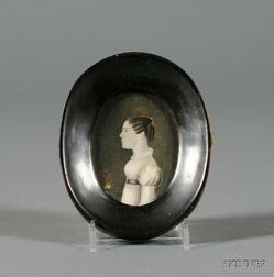 Continental Miniature on Ivory of a Young Lady