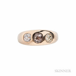 Antique 14kt Gold, Colored Diamond, and Diamond Ring
