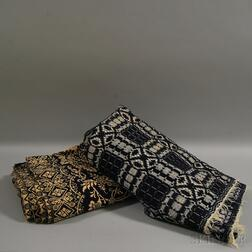 Two Blue and White Woven Coverlets