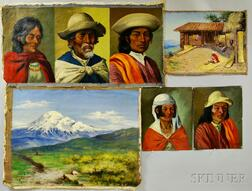 Jose Yepez Arteaga (Ecuadorian, b. 1898) Five Unstretched Oils on Canvas: Three Portraits of Indigenous People and a Genre Scene, and L