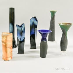 Six Angela Fina Art Pottery Vases