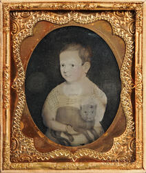 Sixth-plate Ambrotype of a Folk Portrait of a Child Holding a Cat