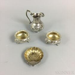 Gorham Sterling Silver Shell-form Dish, Pair of Coin Silver Salts, and Tiffany & Co. Silver Plated Creamer