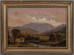 L.M. Wool After Charles Louis Heyde (Vermont, 19th Century)      Covered Bridge with Mount Mansfield, Vermont, in the Background