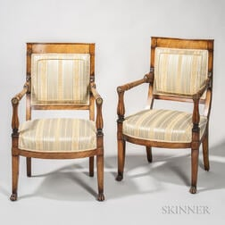 Pair of Neoclassical-style Beechwood Armchairs