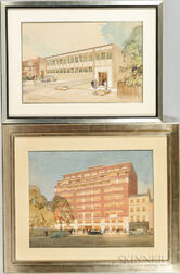 Edmund J. Thring (British, 1906-1985)      Two Architectural Watercolor Renderings
