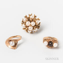 Three 14kt Gold and Pearl Rings