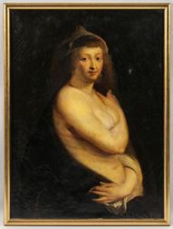"After Peter Paul Rubens (Flemish, 1577-1640)      Copy After Helena Fourment, ""Das Pelzchen."""