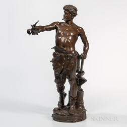 Eugene Marioton (French, 1854-1933)    Bronze Figure of a Blacksmith