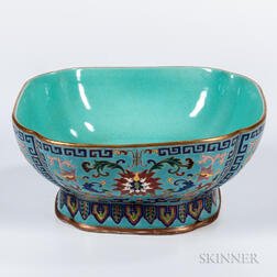 Turquoise-ground Famille Rose Footed Bowl