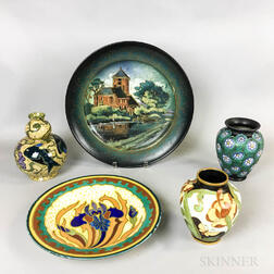 Five Gouda, Boch Freres, and Rozenburg Pottery Items