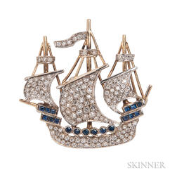 14kt Gold and Diamond Ship Brooch