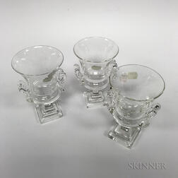 Set of Three Steuben Colorless Glass Urns