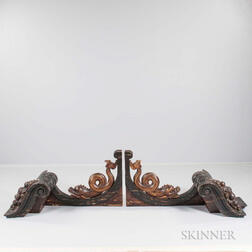 Carved and Faux Marble-painted Architectural Pediment