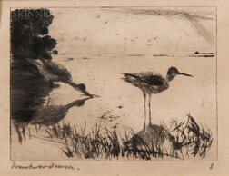 Frank Weston Benson (American, 1862-1951)      Pair of Yellowlegs