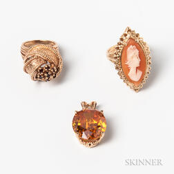 14kt Gold Cameo Ring, a 14kt Gold and Citrine Pendant, and a 14kt Gold and Garnet Ring