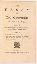 Essay on Civil Government. In Two Parts: Part I. An Enquiry into the Ends of Government, and the Means of Attaining them. Part II. On t