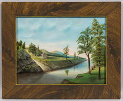 American School, 19th Century      River Scene with White House