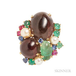 Colored Stone and Cultured Pearl Brooch, Patricia Schepps Vaill, Seaman Schepps