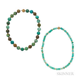 Two 18kt Gold and Gemstone Bead Necklaces
