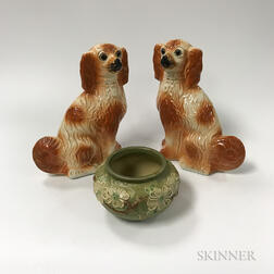 Pair of Staffordshire Spaniels, a Roseville Vase, and an Overlay Glass Lamp.     Estimate $100-150