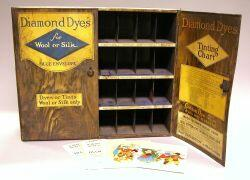 Lithographed Tin Diamond Dyes Retail Display Cabinet.
