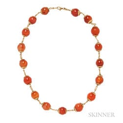18kt Gold and Carnelian Bead Necklace