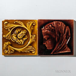 Two Raven Owen and Co. Art Pottery Tiles