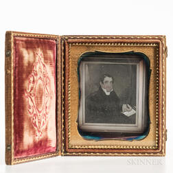 Sixth-plate Daguerreotype of a Folk Portrait of a Gentleman Writing a Letter