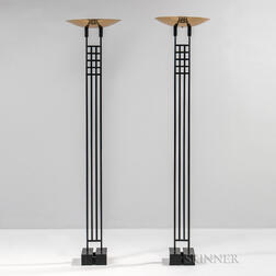 Pair of George Kovacs for Roche Bobois Halogen Torchiere Lamps
