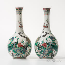 Pair of Famille Verte Bottle Vases