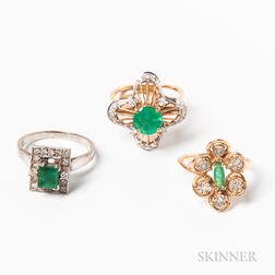 Three Gold, Emerald, and Diamond Rings