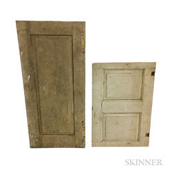 Two Gray-painted Pine Paneled Doors
