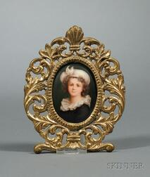 Framed Continental Miniature Hand-painted Portrait of a Girl on Porcelain