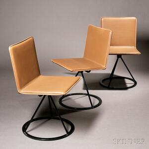 Three Sarporiti Leather and Painted Steel Swivel Stools