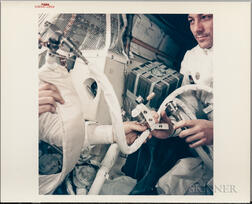 Apollo 13, Interior View of the Lunar Module Showing Astronauts Constructing the Mail Box, a Jury-Rigged Apparatus That Scrubbe...