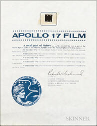 Apollo 17, Flown Film Fragment with Signed NASA Certificate, December 1972.