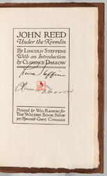 Steffens, Lincoln (1866-1936) and Clarence Darrow (1857-1938) John Reed under the Kremlin  , Signed by Steffens and Darrow.