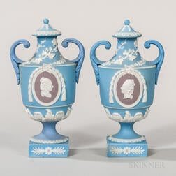 Pair of Wedgwood Tricolor Jasper Dip Portrait Vases and Covers