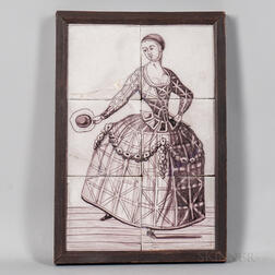 Six Framed Delft Manganese Tiles of a Woman