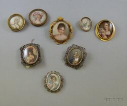 Eight Assorted Painted Portrait Brooches