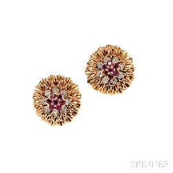 18kt Gold, Ruby, and Diamond Earclips, McTeigue