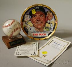 """Mickey Mantle Autographed Baseball and """"The Mick"""" Porcelain Collector's Plate"""