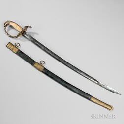 Thomas Griswold & Company Sword Presented to Captain J.F. Girault, and Pen and Ink Depiction of the Sword