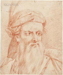 French School, 18th Century      Head of a Bearded Man Wearing a Feathered Turban